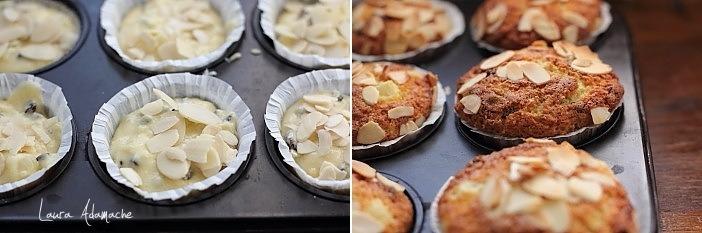 Muffins cu ananas si stafide coacere