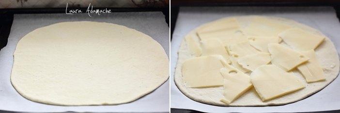 Tarta crocanta umpluta cu sunca si cascaval detaliu mod preparare