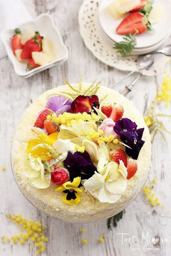Tort Mimoza cu crema de vanilie si ananas