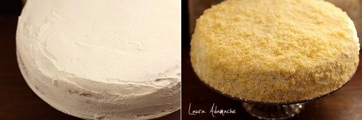 Tort Mimoza imbracat in frisca si pandispan bucati
