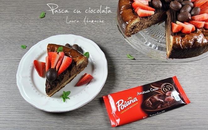 Pasca cu ciocolata si aluat de cozonac sectiune