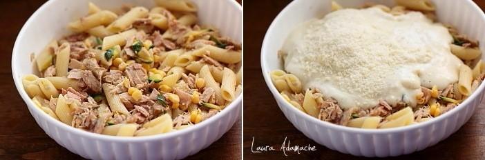 Paste gratinate cu ton si mozzarella preparare