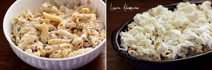 Paste gratinate cu ton si mozzarella detaliu preparare