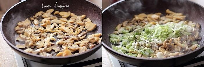 Mini quiche cu ciuperci preparare ciuperci si ceapa