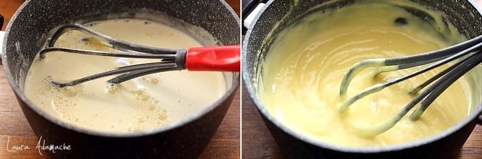 Crema la pahar cu limoncello, piersici si amaretti preparare