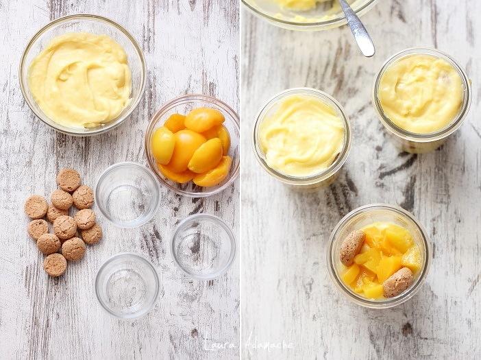 Crema la pahar cu limoncello, piersici si amaretti asamblare pahare