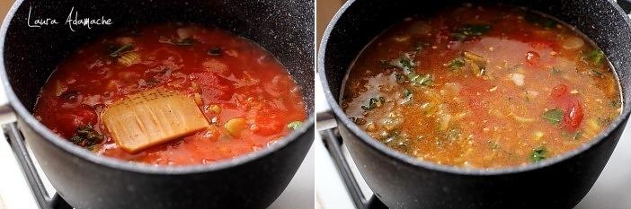 Supa crema de rosii cu busuioc si parmezan preparare