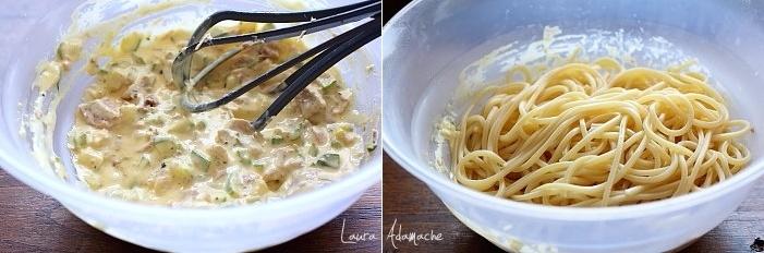 Spaghetti carbonara cu ton si dovlecei preparare