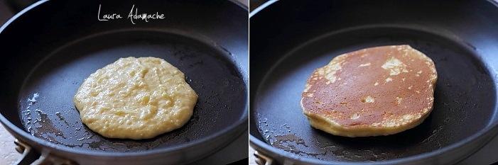 Pancakes cu ananas in tigaie