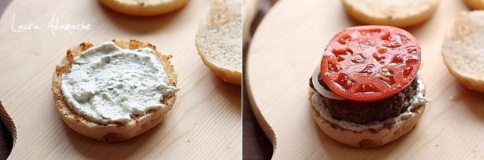 Burgeri de miel cu sos tzatziki asamblare
