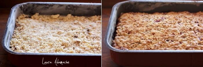 Prajitura cu prune si crumble cu alune coapta