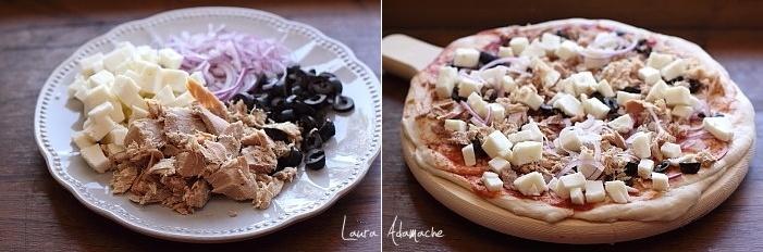 Pizza cu ton si masline preparare