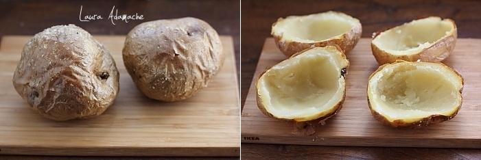 Cartofi copti umpluti cu ton si urda preparare