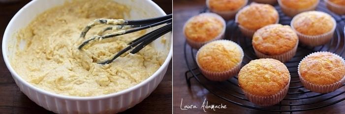 Muffins cu malai, porumb si cascaval preparare