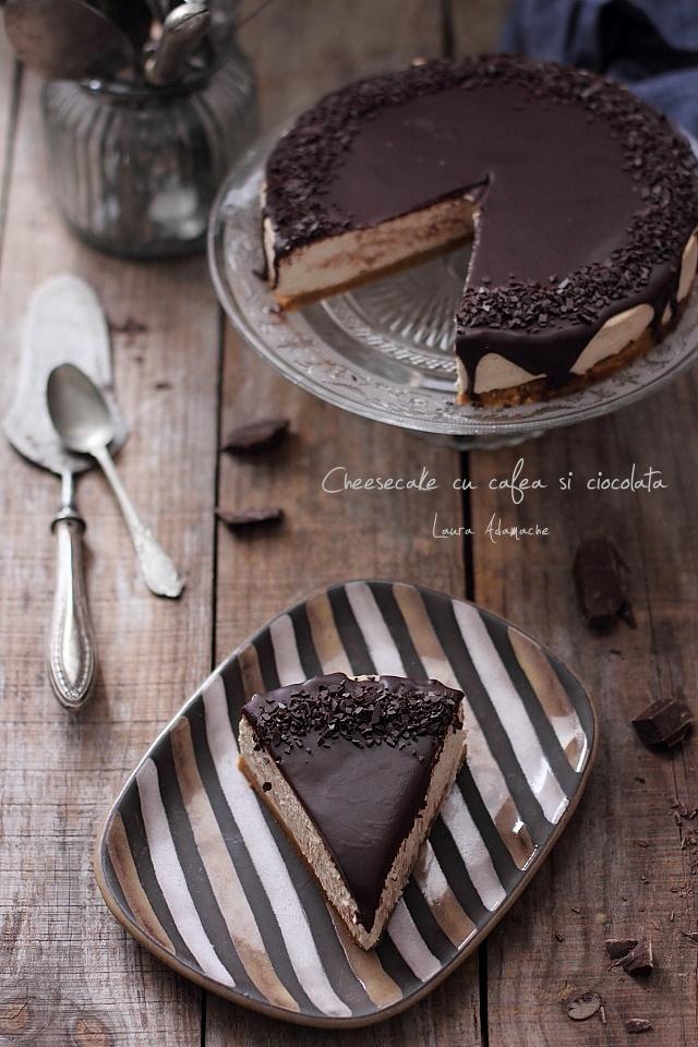 Cheesecake cu cafea si ciocolata detaliu felie