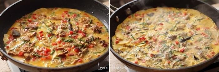 Omleta cu macrou si cartofi detaliu preparare