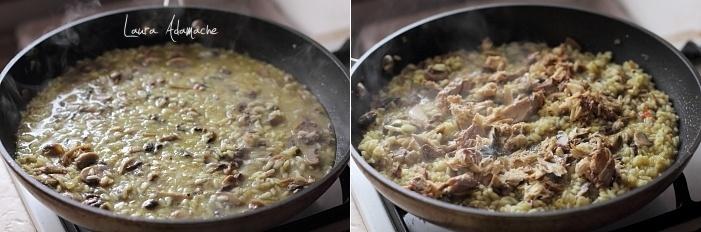 Risotto cu macrou si ciuperci detaliu preparare
