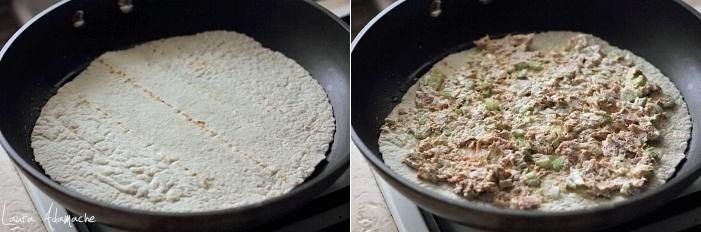 Quesadilla cu ton si cascaval afumat preparare