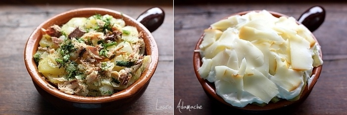 Cartofi gratinati cu macrou detaliu preparare