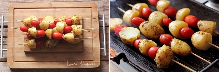 Coaste de porc la gratar cu frigarui de cartofi noi reteta pe gratar