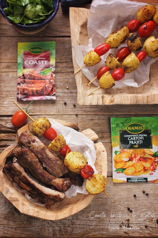 Coaste de porc la gratar cu frigarui de cartofi noi Laura Adamache