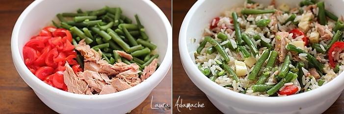 Salata de orez cu ton detaliu preparare