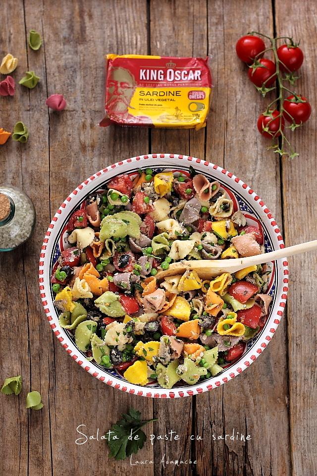 Salata de paste cu sardine, detaliu