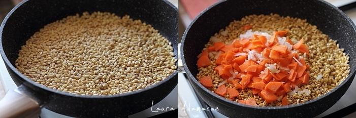salata calda cu orz preparare