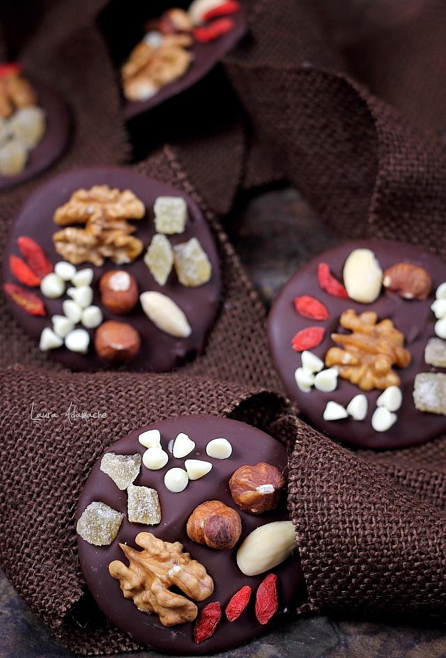 mendiants, cercuri de ciocolata