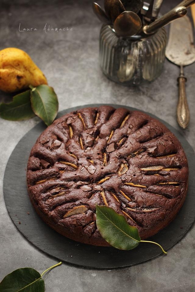 prajitura cu pere si ciocolata detaliu